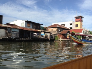 View from long tail boat of Bangkok canal