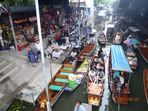 Damneon Floating Market. Tour guide seemed frazzled and frustrated.