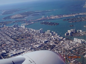 Preparing to land in Miami on American Airlines.