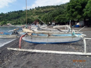Amed beach, Bali. Can you believe I dove form one of these boats?