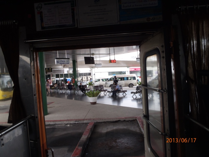 A view of the transport centre from inside Bus 555.