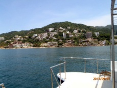In Banderas Bay, looking at old town Puerto Vallarta.
