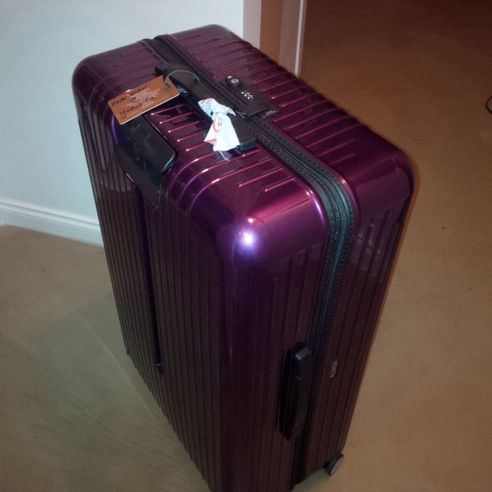 The suitcase before journey #1. Pretty and shiny. Not a scratch on it.