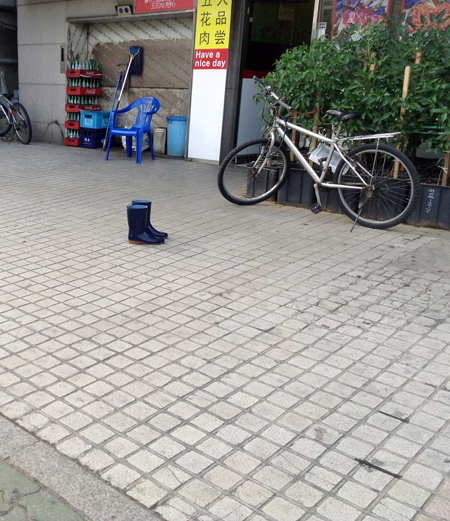 I wonder if the person who lost these boots in Incheon, near Seoul, was having a good day