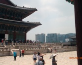 Palace grounds. Old view with new Seoul in the background