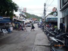 Narrow street. Downtown area.