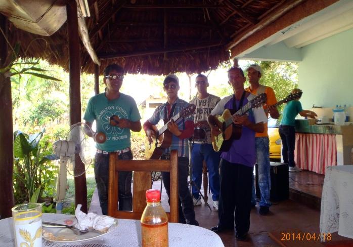 Impromptu concert in backyard restaurant