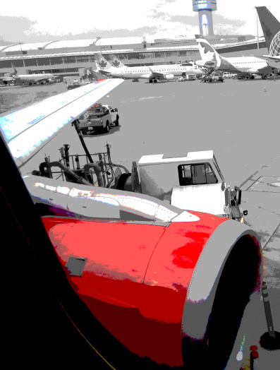 View from an Air Canada Rouge flight at Pearson International Airport.