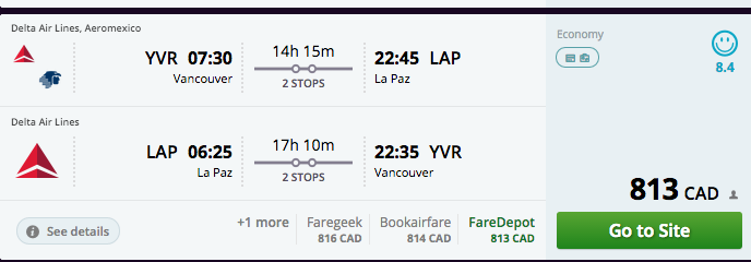 Take a look at the price. This is why I'm flying and busing - to save money.