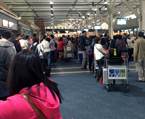 Long and crazy Eva check-in line-up at YVR. Sidestepped this horror by checking-in online earlier in the day.