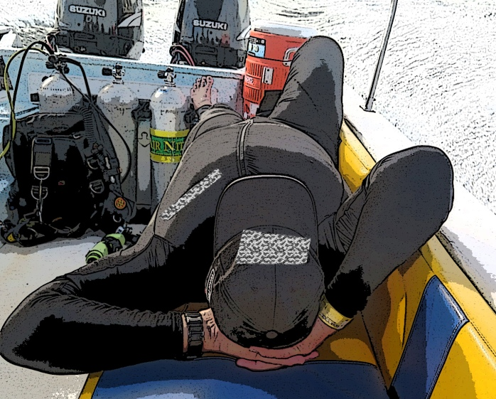 The 'superior' mammal stretched out on the dive boat.