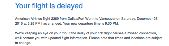 Flight cancellation emails.